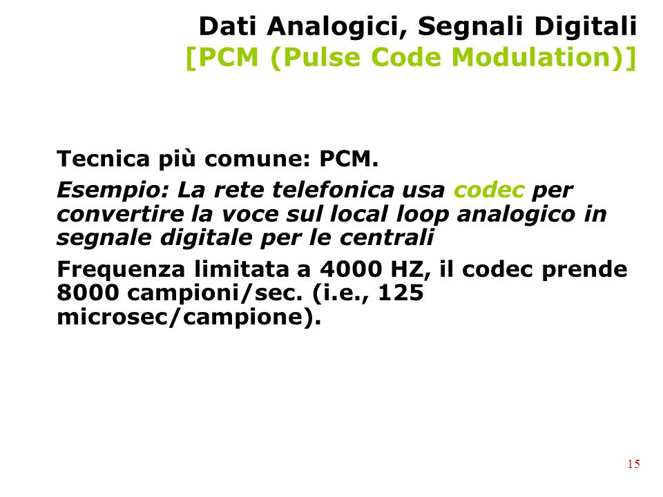Dati Analogici, Segnali Digitali [PCM (Pulse Code Modulation)]